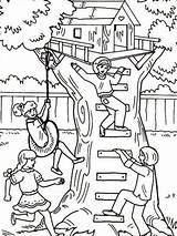Coloring Treehouse Fun Pages Having Tree Boomhutten Four Houses Kleurplaten Clipart Printable Ewok Magic Kleurplaat Van Worksheet sketch template