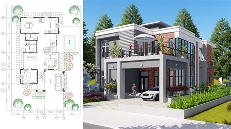 sketchup drawing  stories modern home design