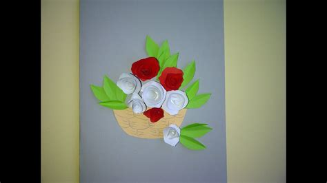 Schöne Geschenke Zum Muttertag. 3d Blumenkarte Mit Rosen