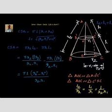 Total Surface Area Of Frustum Of A Cone Derivation Youtube