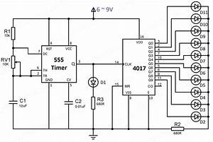 led chaser using 4017 counter and 555 timer With reset sequencer