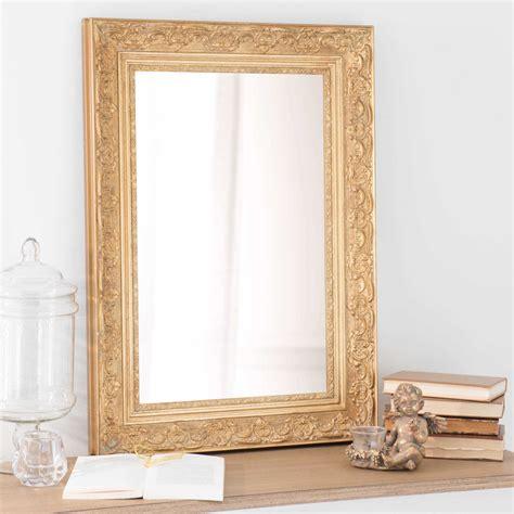 mirroir chambre miroir en bois de paulownia doré h 70 cm