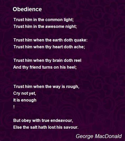obedience poem  george macdonald poem hunter