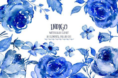 watercolor clipart indigo illustrations creative market