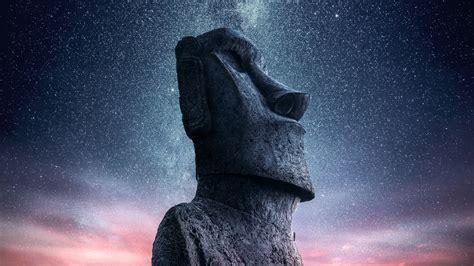 wallpaper moai statue easter island sunset starry sky