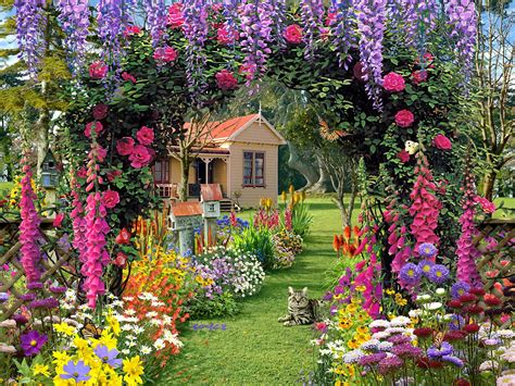 Summer Garden Flower Wallpaperfreehdfordesktop Hd