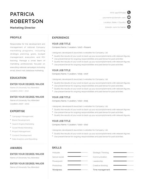 Classic Resume Template 120670 (color: grey) MS Word | Resumeway