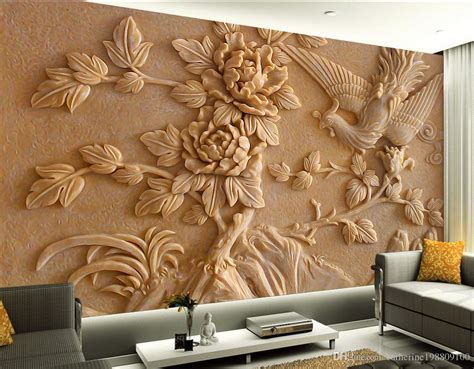 chinese stereo relief phoenix peony mural tv wall mural