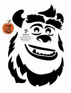 James p sullivan quotsullyquot pumpkin stencil halloween for Sully pumpkin template