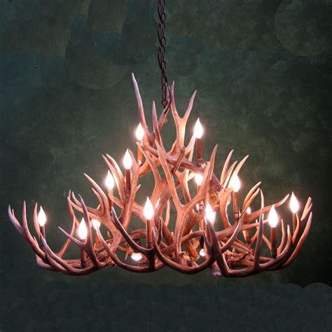 oval bristlecone mule deer antler chandelier