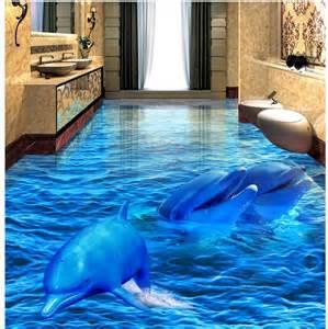 3d pvc floor wallpaper dolphin sea 3d bathroom living room floor tiles pvc waterproof