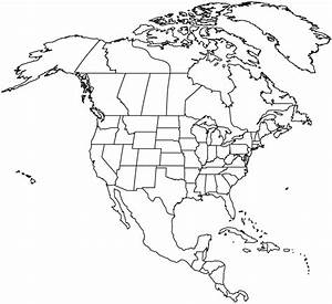 Outlined Map Of North America Map Of North America