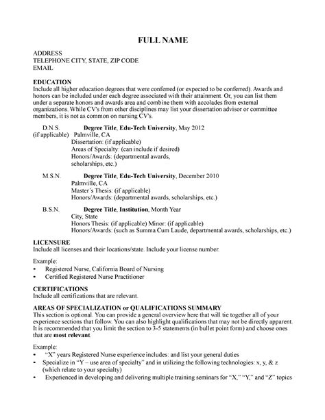 Curriculum Vitae Template For Nurses by Curriculum Vitae Curriculum Vitae Template For Nurses