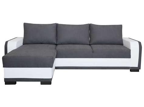 canap 233 d angle convertible et r 233 versible 5 places laziale coloris blanc gris en pu tissu vente