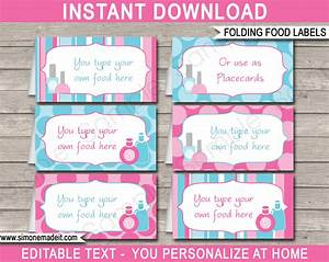Spa party food labels place cards spa theme party for Food labels for party template