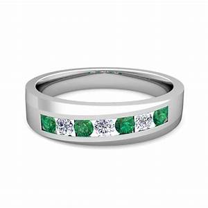 Channel Set Diamond And Emerald Mens Wedding Band In Platinum