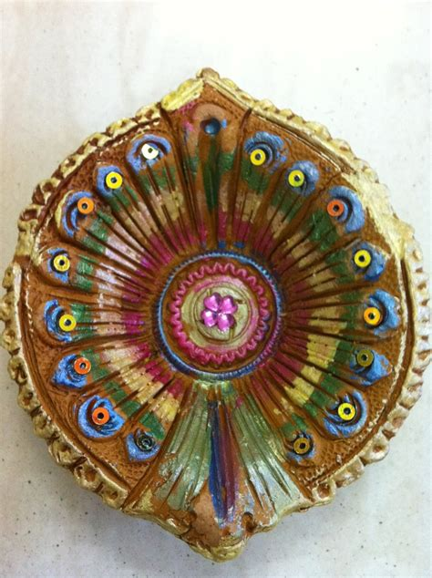 painted diya  images diwali diya decoration