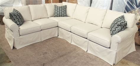 Furniture. Sectional Sofa With Light Blue Cotton Slip Cover Mixed Rectangular Ottoman Coffee
