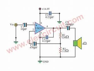 Lm383 Amplifier Circuit  7w And 16w Bridge Amplifier