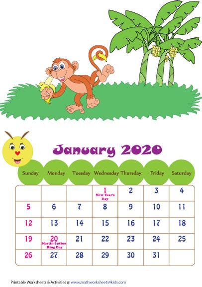 printable  calendars  children