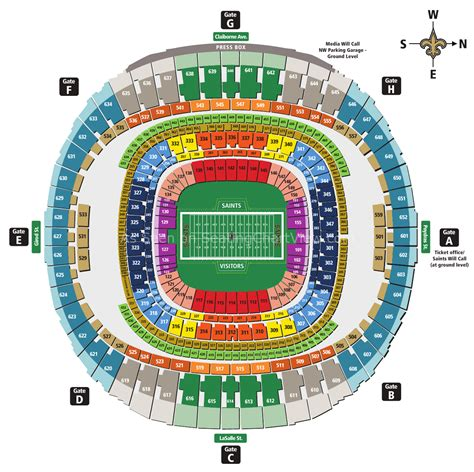 mercedes benz superdome  orleans la seating chart view