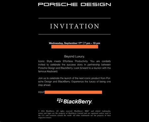 BlackBerry hosting Porsche Design P'9983 launch event on