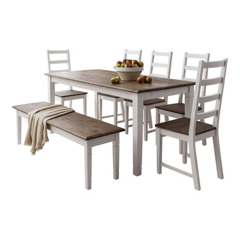 dining table  chairs canterbury white  dark pine