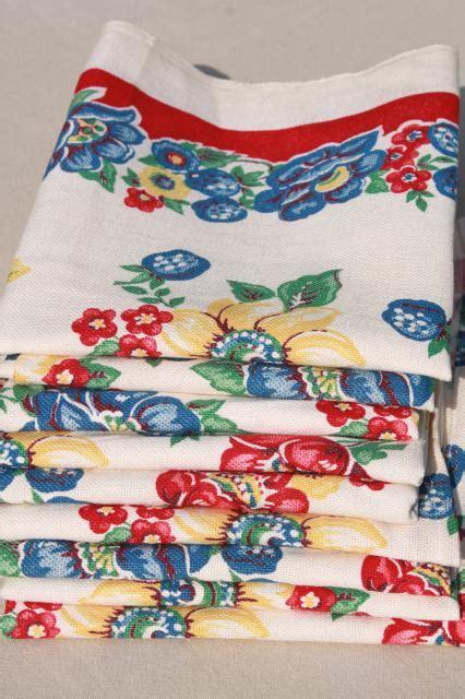 Kitchen Towel Fabric by Vintage Print Cotton Kitchen Towels Retro Flowers