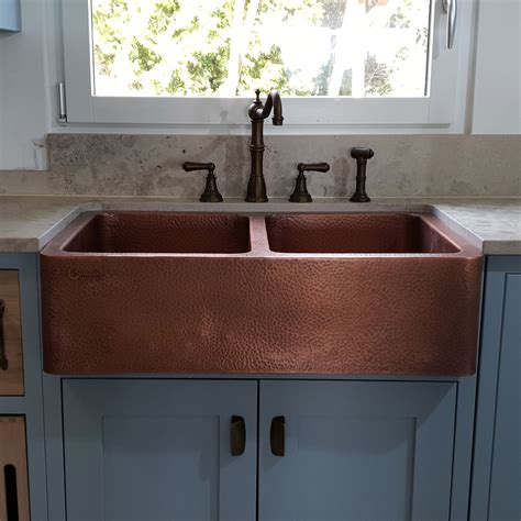 double bowl copper kitchen sink front apron hammered