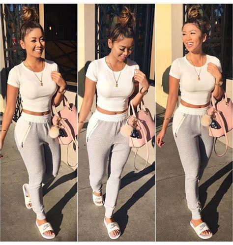 Pants liane v joggers white top white crop tops grey sweatpants pink bag casual shirt ...