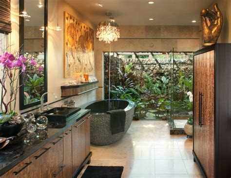 relaxing tropical bathroom designs    feel