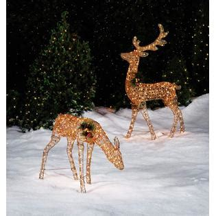 trimming traditions large glittery lighted gold glitter deer outdoor christmas decorations at sears