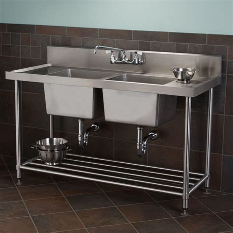 "72"" Doublebowl Stainless Steel Wallmount Commercial Sink"