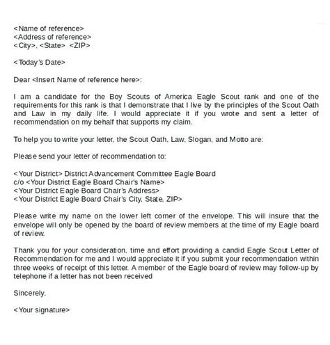 Free Recommendation Letter Sle by Eagle Scout Letter Of Recommendation Sle From Parents