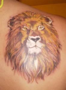 Amazing Lion Head Tattoo on Right Shoulder – Animal ...