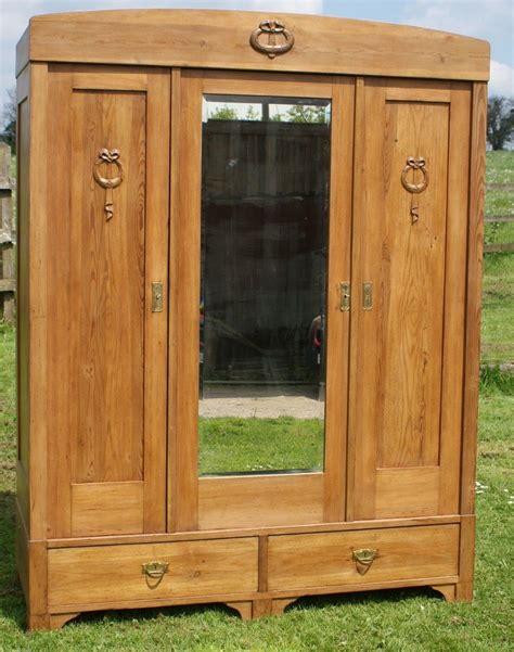 century large antique german solid pine armoire