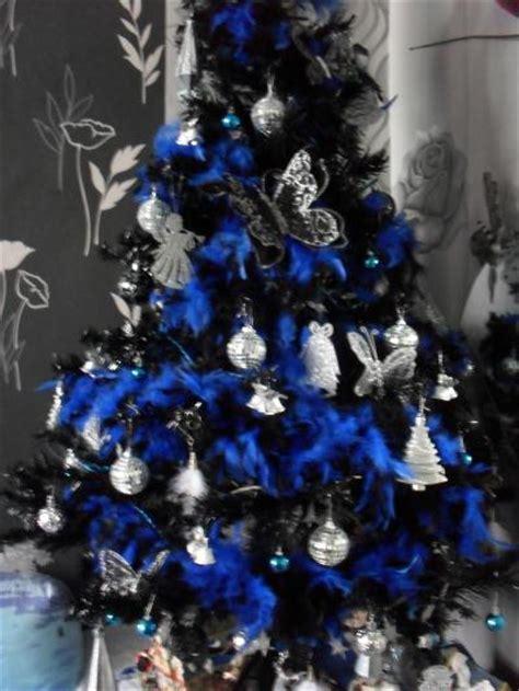 decoration de sapin de noel bleu et argent my