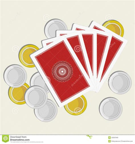 playing cards  side gold  silver coins stock photo