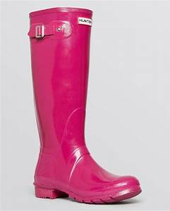 Hunter Rain Boots Original Tall Gloss in Pink (Bright Plum ...