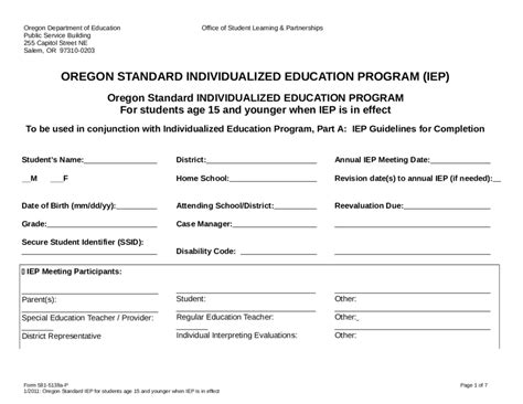 individual education plan fillable printable