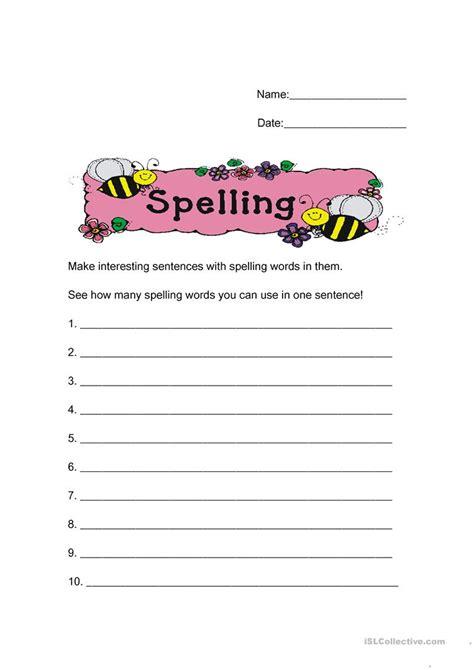 sentences   spelling words worksheet