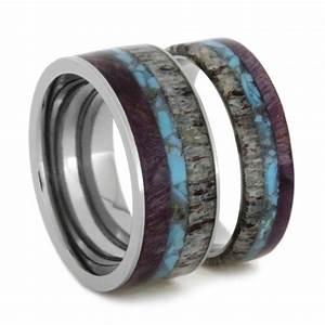 Unique ring set titanium wedding bands set with turquoise for Unique titanium wedding rings