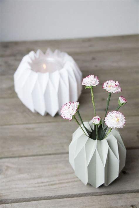 Papier Vasen Basteln Mit Liebe Bestickt by Geometrische Vase Windlicht Im Origami Design