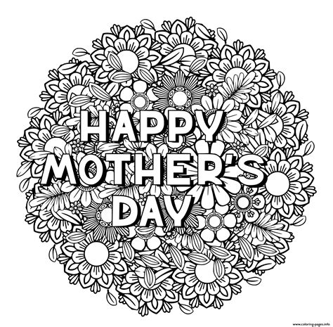 happy mothers day  adult coloring pages printable