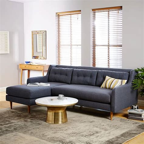 west elm sectional crosby mid century 2 chaise sectional west elm