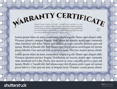 warranty certificate template includes background sample