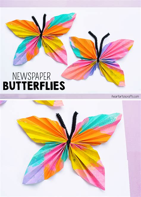 newspaper butterfly craft i arts n crafts 290 | Newspaper Butterfly Craft For Kids