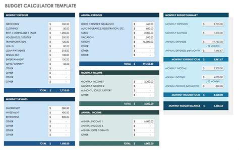 monthly budget templates smartsheet