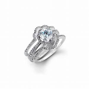 18k white gold diamond engagement ring and custom double for Double band diamond wedding ring