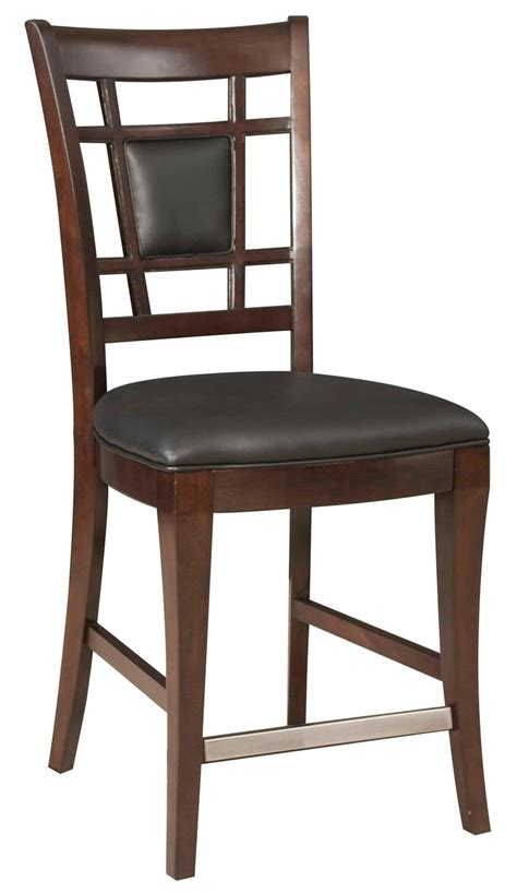 avery avenue counter stool with leather seat and fretwork